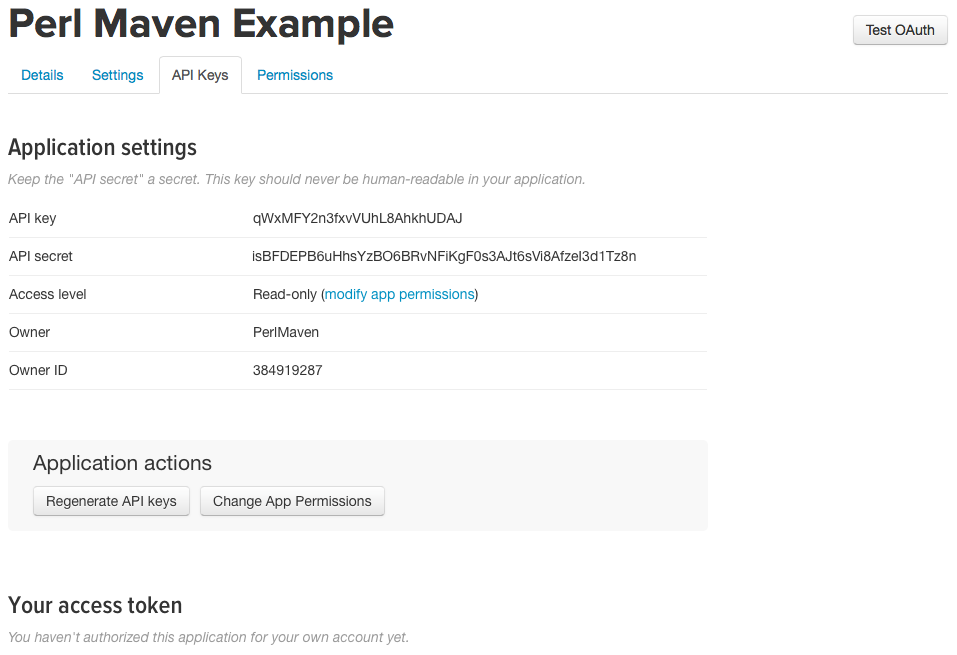 Twitter apps API keys